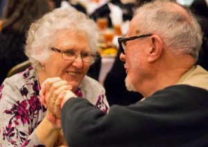 Marie (Reeb) Maher and Orloff Miller greet each other on the 50th anniversary of the Selma March